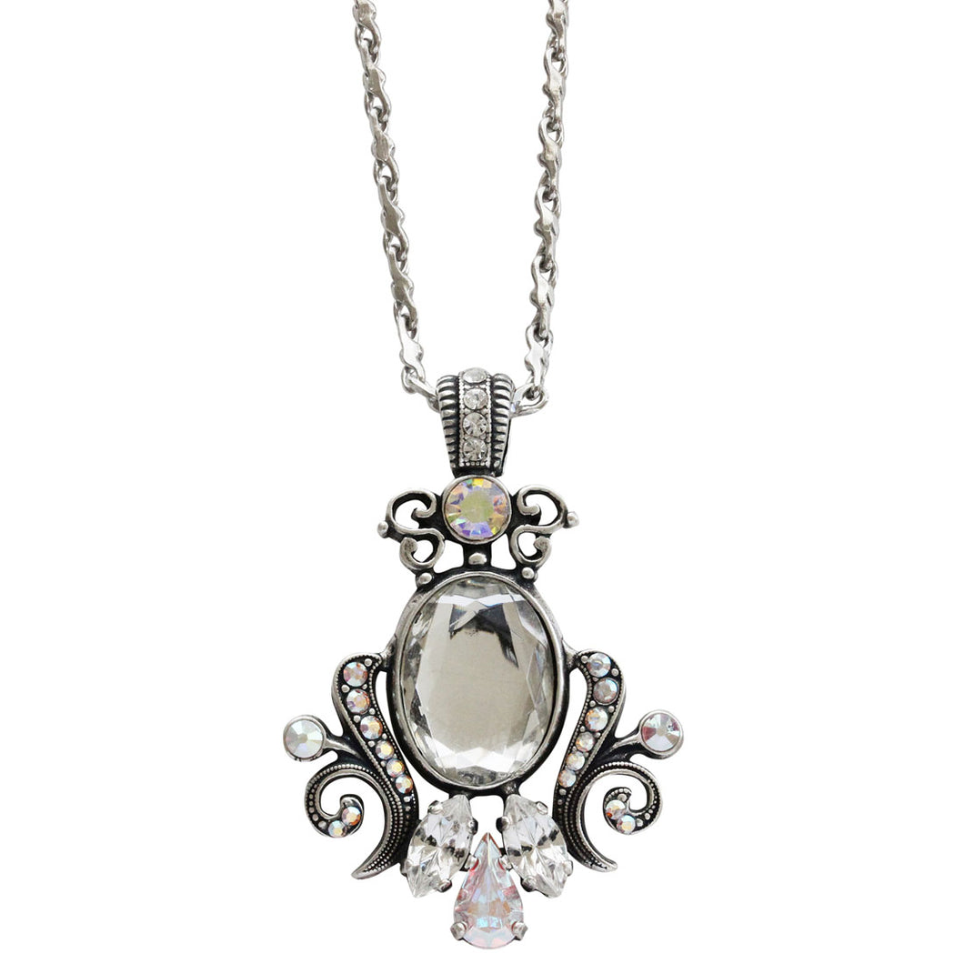 Mariana Silver Plated Ornate Oval Scroll Pendant Swarovski Crystal Necklace, 25