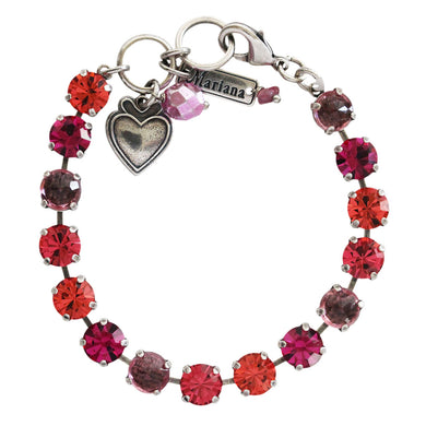 Mariana Sorbet Silvertone Classic Shapes Crystal Tennis Bracelet, 7