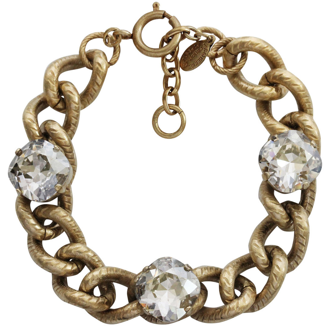 Catherine Popesco 14k Gold Plated Link Chain Triple Crystal Bracelet, 7.5