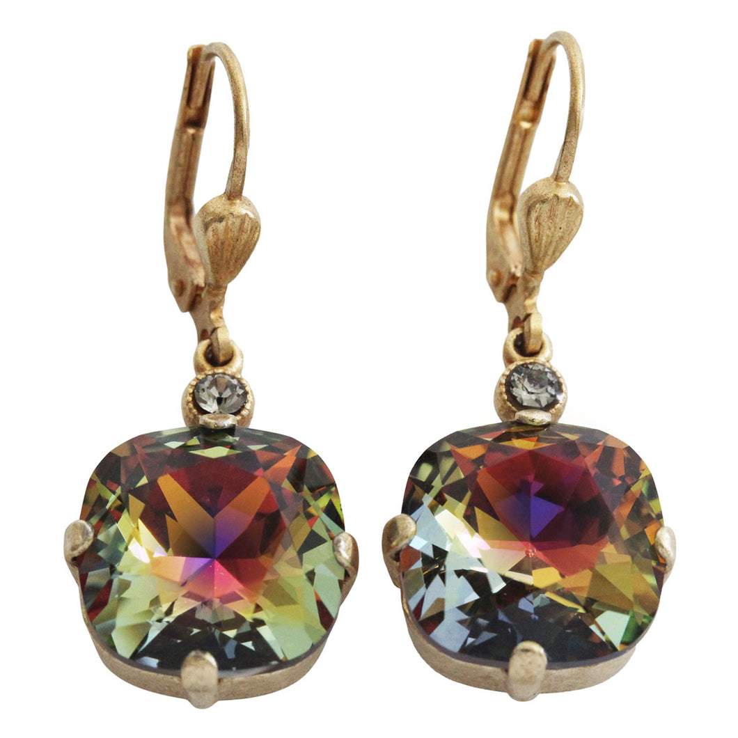 Catherine Popesco 14k Gold Plated Crystal Round Earrings, 6556G Volcano (Oil Spill) * Limited Edition *