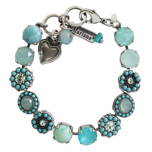 "Mariana ""Athena"" Silver Plated Large Flower Shapes Swarovski Crystal Bracelet, 7"" 4045/1 M1087"