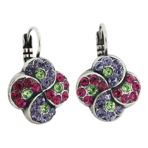 Mariana Crown Jewels Silver Plated Swirl Clover Mosaic Swarovski Crystal Earrings, 1319/1 333