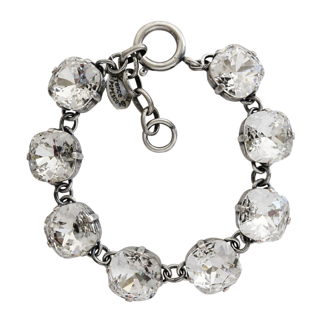 Catherine Popesco Sterling Silver Plated Crystal Round Bracelet, 1696 Clear Crystal