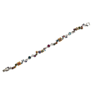 "Patricia Locke Garden Path Sterling Silver Gold Plated Swarovski Mosaic Geometric Art Bracelet, 7.25"" Multi Color Rainbow BR0372S Fling"