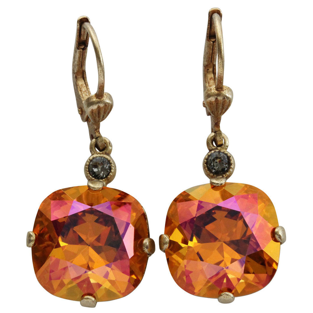 Catherine Popesco 14k Gold Plated Crystal Round Earrings, 6556G Astral Pink