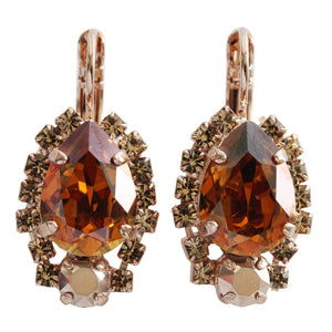 "Mariana ""Caramel"" Rose Gold Plated Teardrop Surrounding Swarovski Crystal Earrings, 1259/1 137rg"