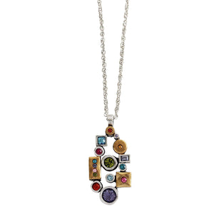"Patricia Locke ""Kiss"" Sterling Silver and Gold Plated Swarovski Crystal Mosaic Necklace, NK0662S Fling"