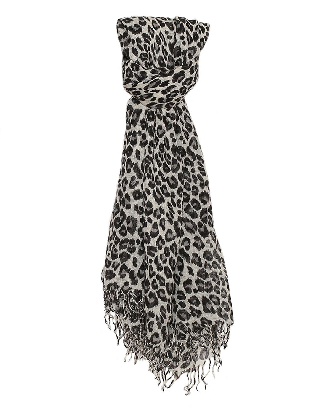 Chan Luu Cashmere and Silk Scarf Wrap - Leopard Print Dove Combo BRH-SC-281