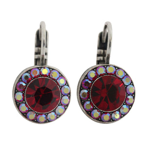 Mariana Lady in Red Silver Plated Round Disc Small Swarovski Crystal Earrings, 1129 208AB