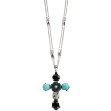 "Mariana ""Zanzibar"" Silver Plated Cross Floral Swarovski Crystal Pendant Double Chain Necklace, 5127 M1081"