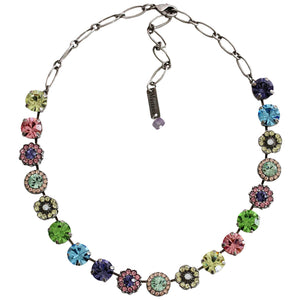 "Mariana Silvertone Large Flower Shapes Crystal Necklace, ""Flower Power"" Multi Blue Pink Purple 3084 803"