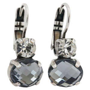 "Mariana ""Martini"" Silver Plated Double Drop Oval Swarovski Crystal Earrings, 1462A 001215"