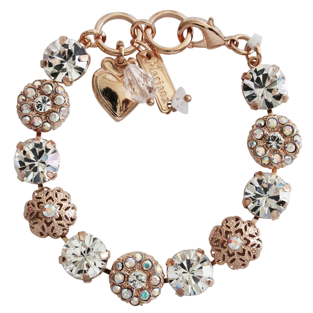 Mariana Clear AB Iridescent Rose Gold Plated Filigree Floral Statement Crystal Mosaic Bracelet, 7