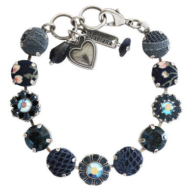 Mariana Tranquility Blue Fabric Silver Plated Large Daisy Shapes Swarovski Crystal Bracelet, 7