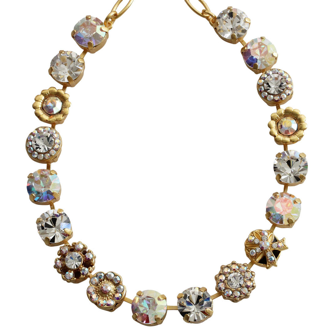 Mariana Gold Plated Large Ribbon Flower Shapes Swarovski Crystal Necklace, 17.5