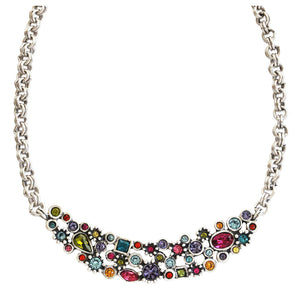 Patricia Locke Anastasia Sterling Silver Plated Mosaic Small Bib Swarovski Necklace, NK0604S Fling