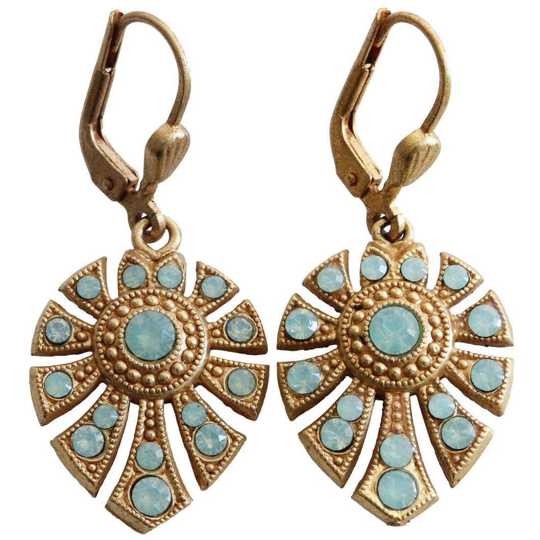 Catherine Popesco 14k Gold Plated Petite Fan Swarovski Crystal Earrings, 4686G Pacific Opal
