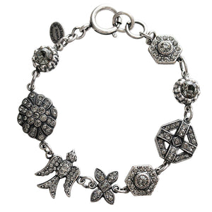 "Catherine Popesco Sterling Silver Plated Bird Shapes Swarovski Crystal Bracelet, 7.5"" 1708 Grey"