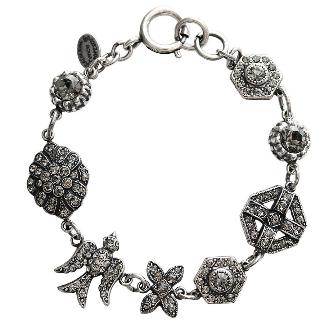 Catherine Popesco Sterling Silver Plated Bird Shapes Swarovski Crystal Bracelet, 7.5