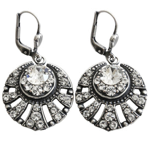 Catherine Popesco Sterling Silver Plated Art Deco Sunburst Crystal Earrings, 4705 Clear