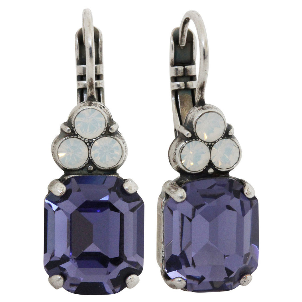 Mariana Silver Plated Rectangle Cushion Cluster Swarovski Earrings, Purple Rain 1014 1062