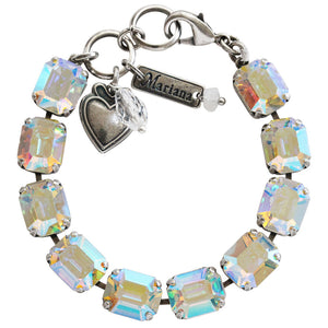 "Mariana ""On A Clear Day"" Silver Plated Baguette Rectangular Swarovski Crystal Bracelet, 7"" 4414 001AB"