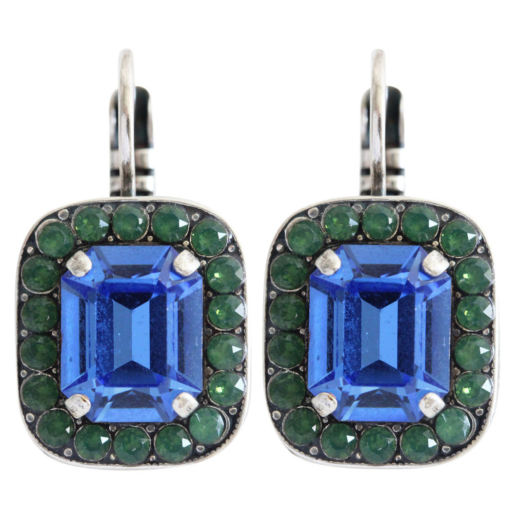 Mariana Blue Royale Silver Plated Rectangle Cushion Crystal Border Swarovski Earrings, 1040/1 3322