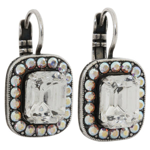Mariana On A Clear Day Silver Plated Rectangle Cushion Crystal Border Swarovski Earrings, Clear AB 1040/1 0011AB