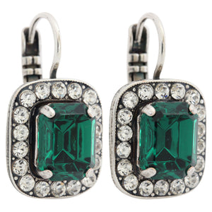 "Mariana ""Green with Envy"" Silver Plated Rectangle Cushion Crystal Border Swarovski Earrings, 1040/1 001205"