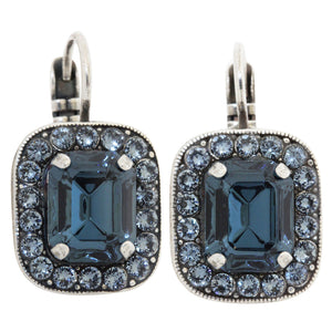 Mariana Silver Plated Rectangle Cushion Crystal Border Swarovski Earrings, Mood Indigo 1040/1 1069