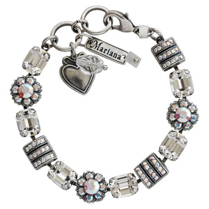 "Mariana ""On A Clear Day"" Silver Plated Baguette Rectangular Flower Swarovski Crystal Bracelet, 7"" Clear AB 4099 001AB"