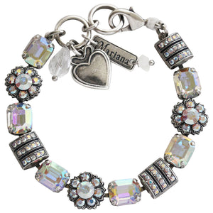 "Mariana ""On A Clear Day"" Silver Plated Baguette Rectangular Flower Swarovski Crystal Bracelet, 7"" Iridescent AB 4099 001AB"