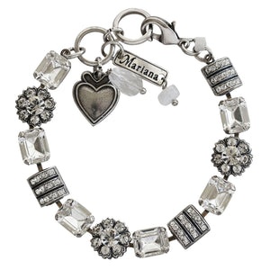 "Mariana ""On A Clear Day"" Silver Plated Baguette Rectangular Flower Swarovski Crystal Bracelet, 4099 001001"