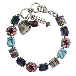 "Mariana ""Cotton Candy"" Silver Plated Baguette Rectangular Flower Swarovski Crystal Bracelet, 7"" 4099 144"