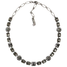 "Mariana Silver Plated Rectangular Flower Swarovski Crystal Necklace, 18"" Grey 3099 747"