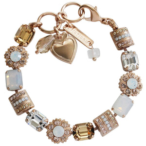 "Mariana Kalahari Rose Gold Plated Baguette Rectangular Flower Swarovski Crystal Bracelet, 7"" 4099 1078mr"