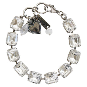 "Mariana Silver Plated Baguette Rectangular Swarovski Crystal Bracelet, 7"" On A Clear Day 4414 001001"