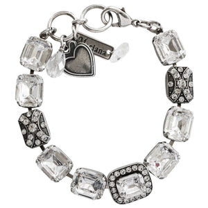 "Mariana Silver Plated Baguette Rectangular Statement Swarovski Crystal Bracelet, 7"" On A Clear Day 4040/4 001001"