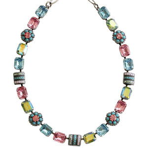 "Mariana Silver Plated Rectangular Flower Swarovski Crystal Necklace, 17.5"" Summer Fun 3099 3711"