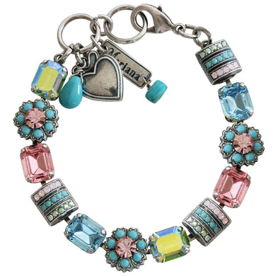 Mariana Summer Fun Silver Plated Baguette Rectangular Flower Swarovski Crystal Bracelet, 7