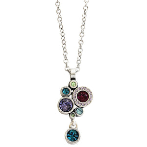 Patricia Locke Balancing Act Sterling Silver Plated Swarovski Round Mosaic Dangle Pendant Necklace, NK0521S Waterlily