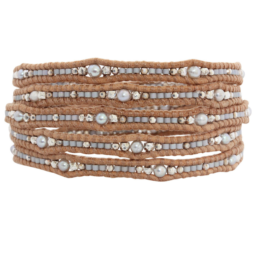 Chan Luu Grey Mix Seed Bead Wrap Bracelet on Beige Leather BS-4822