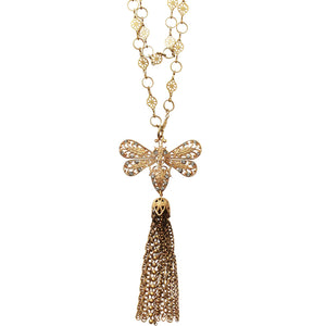 "Catherine Popesco 14k Gold Plated Bee Filigree Double Chain Swarovski Crystal Necklace, 20.5"" 1315G Gray"