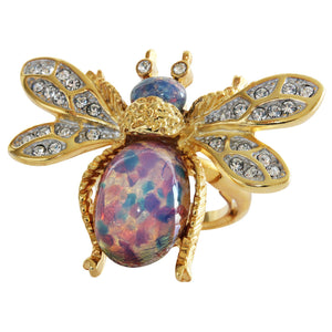 Kenneth Jay Lane Goldtone Bee Bug Simulated Blue Opal Rhinestone Crystal Adjustable Ring 3356RGOP