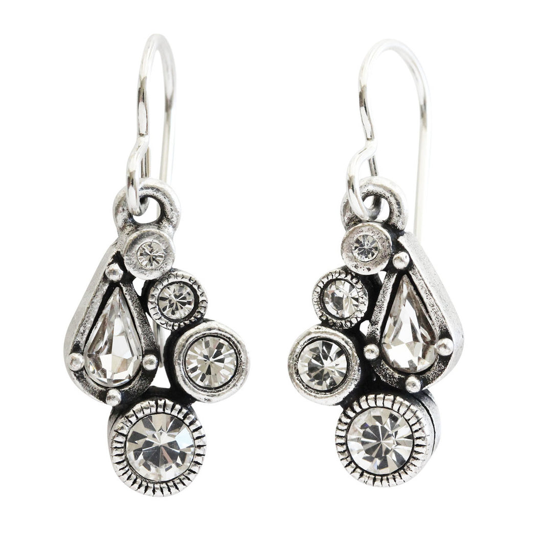 Patricia Locke Bitty Sterling Silver Plated Petite Mosaic Swarovski Earrings, EF1038S All Crystal