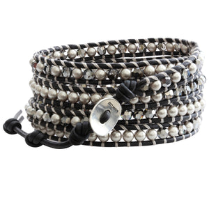 Chan Luu Grey Mix on Natural Black Leather Wrap Bracelet BS-3319