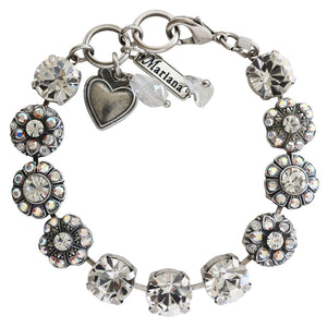 "Mariana ""On A Clear Day"" Silver Plated Large Round Floral Statement Swarovski Crystal Bracelet, 7"" 4284 0011AB"