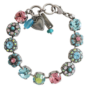 "Mariana ""Summer Fun"" Silver Plated Large Round Floral Statement Swarovski Crystal Bracelet, 4284 3711"