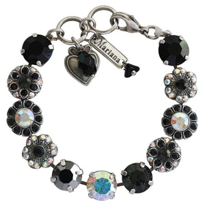 "Mariana ""Tuxedo"" Silver Plated Large Round Floral Statement Swarovski Crystal Bracelet, 7"" 4284 3701"