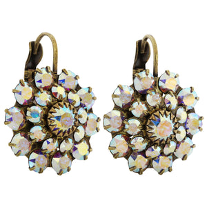 Liz Palacios Antiqued Brass Large Flower Swarovski Crystal Earrings, JE-81 Crystal AB